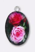 Pendentif en verre et métal rose 25x18 mm x1