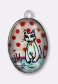 Pendentif en verre et métal chat 25x18 mm x1
