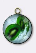 Pendentif en verre et métal kiwi 20 mm x1