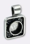 Argent 925 pendentif carré 17 mm x1