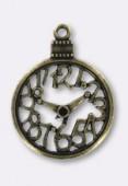 Pendentif en métal cadran de montre 30 mm bronze x1