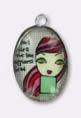Pendentif en verre et métal redhead 25x18 mm x1