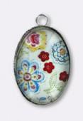 Pendentif en verre et métal fleurs 25x18 mm x1