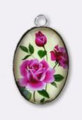 Pendentif en verre et métal bouquet de roses 25x18 mm x1
