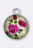 Breloque en verre et métal bouquet de roses 10.5 mm x2