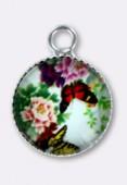 Breloque en verre et métal papillon 10.5 mm x2