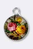Breloque en verre et métal fleurs 10.5 mm x2