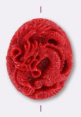 Dragon en résine 41x35 mm rouge x1