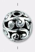 Perle ajourée en métal 14 mm argent vieilli x2