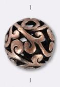 Perle ajourée en métal 14 mm cuivre x2
