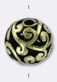 Perle ajourée en métal 11 mm bronze x2