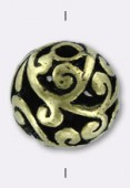 Perle ajourée en métal 14 mm bronze x2