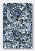 Twin beads 2.5x5 mm crystal light grey lined x20g