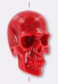 Tête de mort en résine 25x16 mm rouge x1