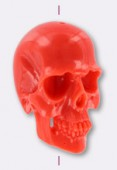 Tête de mort en résine 25x16 mm corail x1