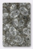 Twin beads 2.5x5 mm crystal gray pearl x20g
