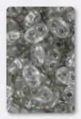 Twin beads 2.5x5 mm crystal gray pearl x20g