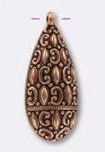 Pendentif baroque en résine 55x25 mm cuivre x1