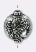 Perle en résine ronde visage 14x16 mm argent vieilli x2