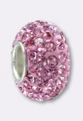 Rondelle strass Pave Ball 12 mm rose x1