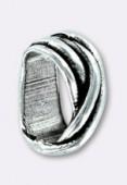 Passant en métal pour cuir 10x6 mm fils croisés argent x1