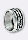 Passant en métal pour cuir 10x6 mm corde argent x1