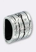 Passant en métal pour cuir 6x3 mm strié L argent x1