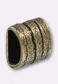 Passant en métal pour cuir 6x3 mm strié L bronze x1