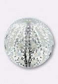 Perle en métal filigrané 12 mm argent x2