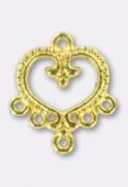 Chandelier coeur baroque 5 anneaux 22x20 mm or x2