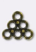 Chandelier 3 anneaux 13x13 mm bronze x2