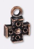 Breloque en métal croix 16x11 mm cuivre x1