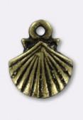 Breloque en métal coquille St Jacques 14x11 mm bronze x2