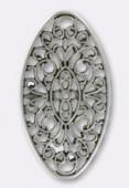 Estampe ovale 50x27 mm argent vieilli x1