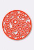 Estampe ronde fleur 19 mm Bright Neon orange x2