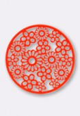 Estampe ronde fleur 32 mm Bright Neon orange x1