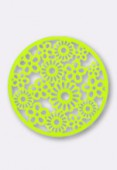 Estampe ronde fleur 32 mm Bright Neon lime x1