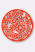 Estampe ronde fleur 47 mm Bright Neon orange x1