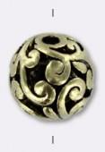 Perle ajourée en métal 11 mm or x2