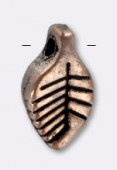 Breloque en métal feuille 11x6 mm cuivre x2