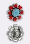 Bouton strass 14 mm turquoise-coral argent x1