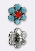 Bouton strass 14 mm coral-turquoise argent x1