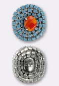 Bouton strass 30x28 mm coral-turquoise argent x1