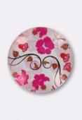 Cabochon en verre fleurs roses 25 mm x1