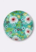 Cabochon en verre fleurs vertes 25 mm x1