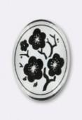 Cabochon en verre fleurs noires 25x18 mm x1