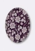 Cabochon en verre fleurs mauves 25x18 mm x1