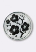 Cabochon en verre fleurs noires 14 mm x2