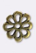 Perle en métal intercalaire fleur 15 mm bronze x2