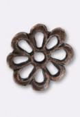 Perle en métal intercalaire fleur 15 mm cuivre x2
